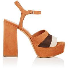 Derek Lam Women's Birgitta Colorblocked Suede Platform Sandals ($850) ❤ liked on Polyvore featuring shoes, sandals, open toe high heel sandals, block-heel sandals, chunky high heel sandals, suede sandals and suede shoes