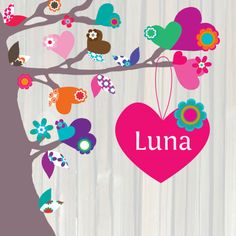 Geboortekaartjes - Hip Geboortekaartje Boom Hartjes Luna