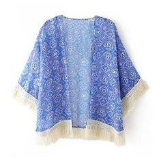 Ornate Print Short Kimono ($21) ❤ liked on Polyvore featuring intimates, robes, kimono, cardigans, blue, blusa, jackets, patterned robes, blue robe and kimono robe