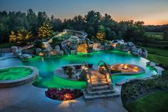 Photo courtesy of Current Systems, Inc and Platinum Poolcare   Imagine a lazy river winding through your own version of Jurassic Park, a waterslide extending from the your house to the pool, or an incredible piece of Luxury Swimming Pools, Luxury Pools, Swimming Pools Backyard, Dream Pools, Swimming Pool Designs, Pool Landscaping, Backyard Pool Designs, Backyard Patio, Outdoor Pool