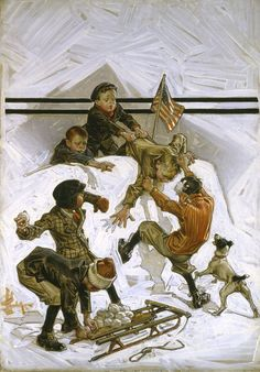 SNOWBALL FIGHT oil on canvas 30 x signed lower left Saturday Evening Post, February cover Leyendecker Art And Illustration, American Illustration, Illustrations, Caricatures, Jc Leyendecker, Saturday Evening Post, Matou, Snowball Fight, Gif Animé
