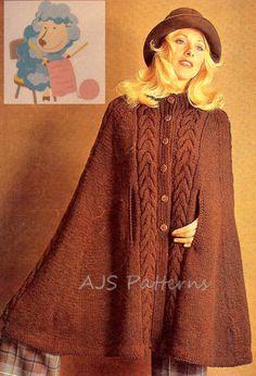 Ce modèle de tricot PDF est pour cette Cape de rétro de dames avec un beau Design câblés et poches fente.  Pour s'adapter à buste 3 tailles 34, 36 et 38.  Tricoté en soit DK poids en laine avec une paire de chacun des aiguilles n ° 8 UK & n ° 10 ou laine Apollo (qui tricote comme Aran ou un poids encombrant) sur des aiguilles n ° 4 UK & n ° 6.  Il vous faudra entre 30-37 x 25 g boules de laine DK ou 34-25 x 50 g boules de laine Apollo (ou son équivalent moderne selon la taille) et le choix…
