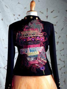 Black retro mixed-tribal embroiders upcycled jacket
