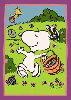 SNOOPY & WOODSTOCK~ EASTER Flag
