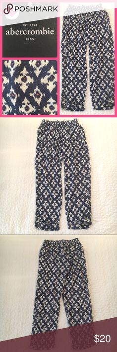 Abercrombie Kids Ikat printed pants L (14) NWT Abercrombie Kids Ikat printed pants size L (14).  Elastic waist with nonfunctional bow.  2 front pockets  1 pocket on the side of the leg. 2 back pockets with snaps to match the adorable snaps on the bottom of the cuffed bottoms.  Gorgeous print and style! abercrombie kids Bottoms