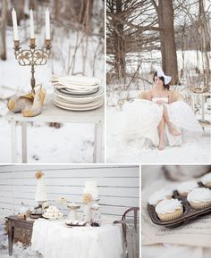 A beautiful snow white wedding in the woods ~  inspirational pictures by Jenny Haas Photography.