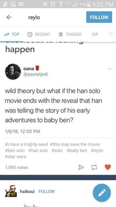 Yeah but Han DID abandon his son, so was there ever a point he told him any stories? I'm sorry, I just don't like erasing what he did.