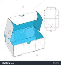 Box With Flip Lid And Blueprint Layout Stock Vector Illustration 166769741 : Shutterstock