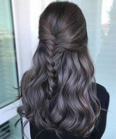 Fabulous Half Braided Dark Grey Layered Hairstyles for Long Thick Hair