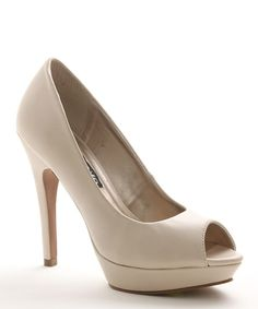 Look at this XOXO Nude Bella Peep-Toe Pump on #zulily today!