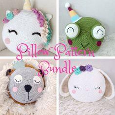 NEW Pillow Pattern PDF Bundle - Unicorn Pillow - Lion pillow - Crochet patterns - Bunny Pillow - animal pillows - knit pillow pattern