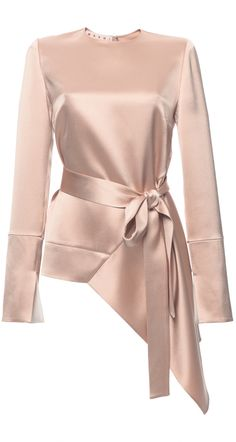 Marni Crepe Satin Asymmetric Long Sleeve Blouse
