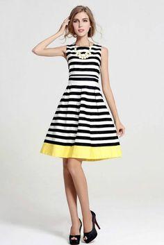 Dress - Sail Away Black Stripe Pleated Dress