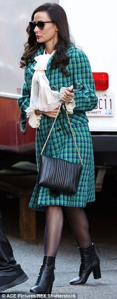 Twice as nice: Demi Moore showed off two glamorous looks as she filmed her new movie Blind in New York City on Tuesday
