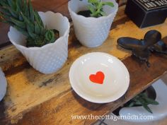 Terra Cotta White Heart Plate, $9 - cottage moon