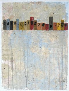 Crowdfunding by Scott Bergey, 12 x 9 inches , mixed media painting/collage on paper (on Etsy)
