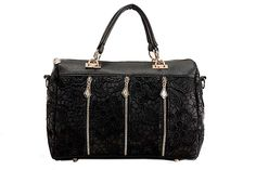 Women Fashion Lady Retro Lace Designer PU (Faux) Leather Women's Handbag Tote Crossbody Shoulder Lace Bags Small Black
