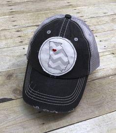 fce294e9e23 Georgia   GA State   Atlanta Distressed Trucker Hat by JordansGems2 on Etsy Georgia  Hats