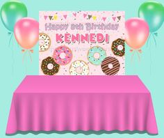 Donut Backdrop, Donut Grow Up Birthday Backdrop Donut Birthday Parties, Birthday Party Themes, Paper Party Bags, Dessert Table Backdrop, Happy 8th Birthday, Grown Up Parties, Party Pops, Birthday Backdrop, Backdrops For Parties