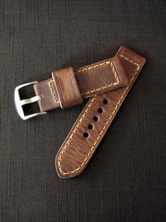 """Kennedy"" Saddle Tan Handmade Leather Watch Strap"