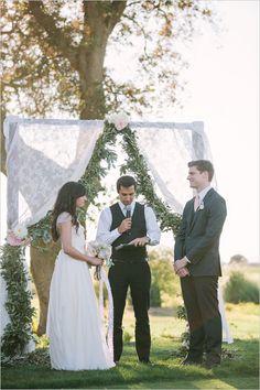 love this lace and eucalyptus wedding ceremony backdrophttp://www.weddingchicks.com/2014/01/31/vintage-barn-wedding-2/