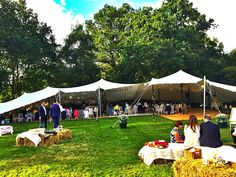 Wedding stretch marquee hire & The tent is rigged with three sides down. This rig has one of the ...