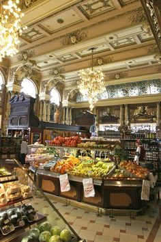 Eliseevsky Grocers, St. Petersburg, on the Nevsky Prospekt. A beautiful example of turn-of-the-century Russian architecture.