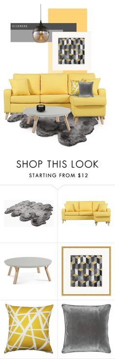 """""""Grey & yellow"""" by nicerose ❤ liked on Polyvore featuring interior, interiors, interior design, home, home decor, interior decorating, UGG Australia, Ambra, Pillow Decor and M&Co"""