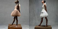 Degas was ook beeldend kunstenaar. Dit beeldje heet 'Little dancer of 14 years'.Misty Copeland imiteert