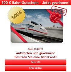 Bahn-Gutschein Gewinnspiel: 500 € Bahngutschein gewinnen - https://www.ratgeber.reise/gewinnspiel/500-euro-bahn-gutschein-20002/