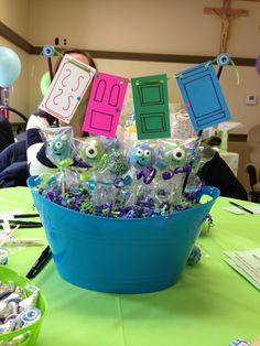 Monsters Inc themed party centerpiece-cake pops