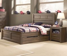 Juararo Full Size Panel Bed with Trundle