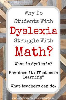 """"""" I'm worried. Are our dyslexic students struggling in math because they are being taught through memorized procedures, rote memorization of facts, and without connecting math strategies to conceptual frameworks? Math Dyslexia, Dyslexia Strategies, Dyslexia Teaching, Math Resources, Teaching Math, Dysgraphia, Dyslexia Quotes, Dyslexia Activities, Teaching Tips"""