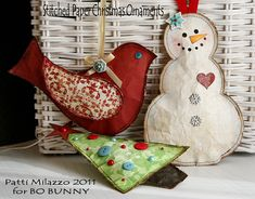 I love these so much Im almost tempted to get my sewing machine out! Bo Bunny: Handmade Christmas Paper Ornaments