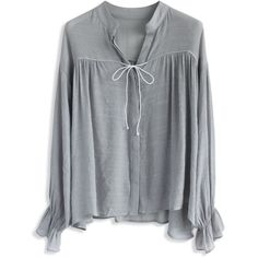 Chicwish Easy Mind Smock Top in Grey ($36) ❤ liked on Polyvore featuring tops, blouses, grey, smocked blouse, ruffle top, grey blouse, ruffle button up blouse and gray top