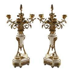 Pair of Gilt-Bronze and Marble Candelabras