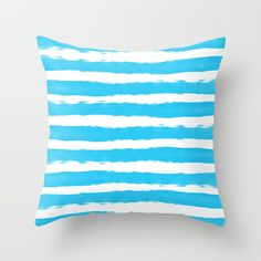 Simple aqua and white handrawn stripes - horizontal - for your summer on #Society6 Throw Pillow