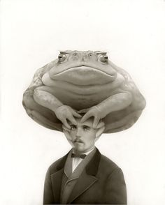 """""""Oscar & The Truth Toad (Ted)"""" by Travis Louie. Layers of beautifully and meticulously applied acrylic form the mystic, dreamy quality of the work, while Louie draws on vintage photos from the Human Oddities, Bizarre, Art Pop, Toad, Great Artists, Cool Art, Beast, Illustration Art, Vintage Illustrations"""