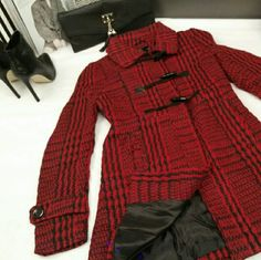 Red Textured Toggle Coat Size: Large Main Color: Red & Black Weight: Mid-weight  -2 Front Pockets -Toggle Button Front with Snap Closure -Tweed weave -Back Pleat -Fully Lined  Measurements Waist: 36 inches Shoulder to Shoulder: 16.5 inches Length: 31.5 inches  Sizes: S/M/L available  Brand New!!! Jackets & Coats Pea Coats