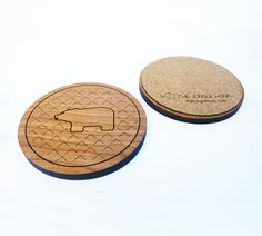 Set of 4 bear coasters  wooden cherry coasters by thejunglehook