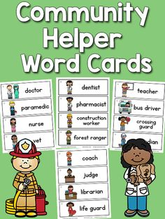 This set of printable Community Helper Word Cards has 30 community helpers words with pictures: firefighter, mail carrier, police officer, doctor, paramedic, nurse, vet, dentist, pharmacist, construction worker, forest ranger, teacher, bus driver, crossing guard, custodian, coach, judge, librarian, life guard, military, meteorologist, reporter, mechanic, trash collector, baker, chef, farmer, plumber, grocer, hair stylist. There are more sets like this inthe Picture-Word Cards collection…