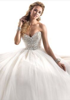 A fairytale #ballgown with fully encrusted bodice, this glamorous tulle dress sparkles with Swarovski crystals. @maggiesottero