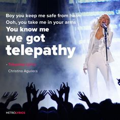 Lyrics to 'Telepathy' by Christina Aguilera. You know how to read my mind I'm lost and it's you I find Rush into my side You hold me tight I know when to take hint You Take, Take My, Lyric Art, Music Lyrics, 1111 Twin Flames, Keep Me Safe, I Got Your Back, Things To Do With Boys, Hold Me Tight