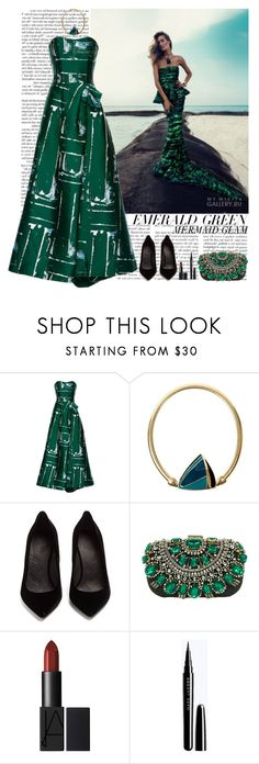 """emerald green mermaid glam"" by helena99 ❤ liked on Polyvore featuring Zink, Carolina Herrera, Trifari, Maison Margiela, clutches, Gowns, emeraldgreen, CarolinaHerrera and statementnecklaces"