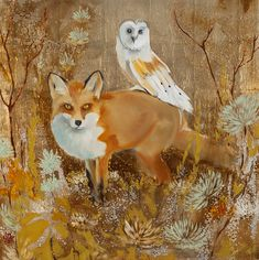 Fox and Owl Joseph Bradley Fox Painting, Fox Pictures, Fox And Rabbit, Fox Illustration, Fox Tattoo, Pet Fox, Graphite Drawings, Fox Art, Animal Totems