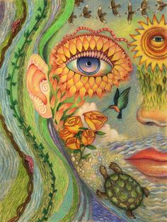 Purchase greeting cards of artwork by psychedelic visionary artists like Martina Hoffmann, Clancy Cavnar, and more. Inspiration Art, Art Inspo, Art Visionnaire, Psy Art, Arts Ed, Visionary Art, Psychedelic Art, Trippy, Illustration