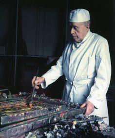 Georges Rouault dans son atelier, photographie d'Yvonne Chevalier, 1953