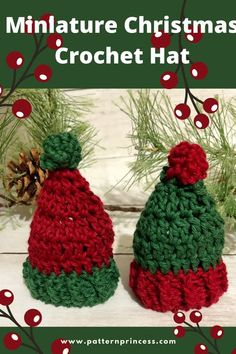 This miniature Christmas crochet hat is such a cute Holiday decoration. Attach them to a string of yarn and create a pretty garland to hang in your home. Use them on a wine bottle cozy outfit or… More Crochet Christmas Hats, Christmas Crochet Patterns, Christmas Crafts, Holiday Crochet, Christmas Ornaments, Easy Beginner Crochet Patterns, All Free Crochet, Crochet Crafts, Crochet Projects