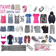 coordinating blue, pink, grey packing list for a coast vacay Summer Vacation Packing, Travel Outfit Summer, Summer Outfits, Cruise Outfits, Vacation Outfits, Travel Outfits, Travel Wardrobe, Capsule Wardrobe, Voyage Usa