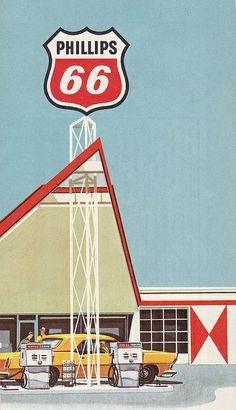 Phillips 66 Gas Station Illustration 1960s
